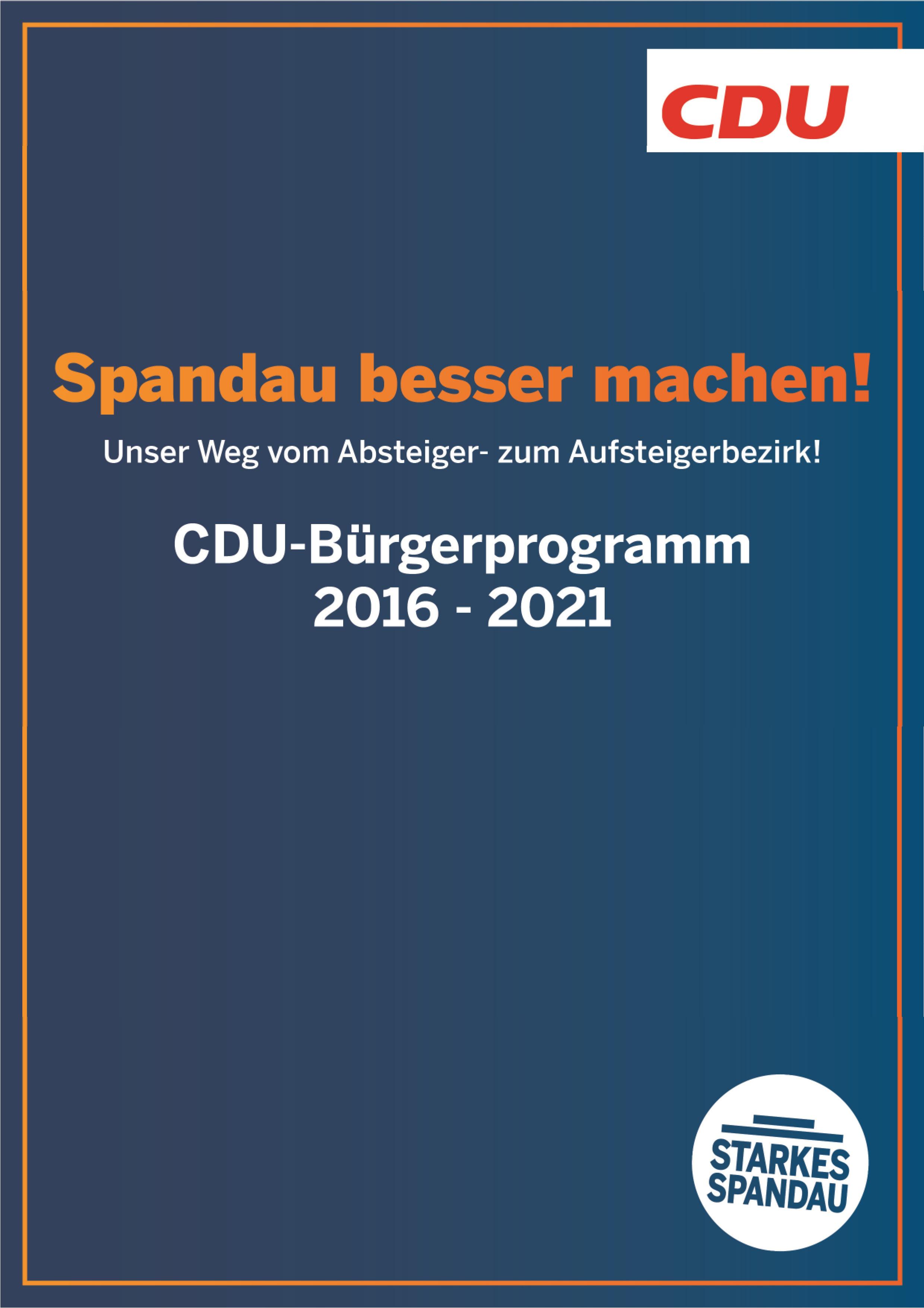 CDU-Bürgerprogramm 2016 - 2021